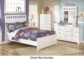 Lulu Full Bedroom Set with Panel Bed, Dresser and Mirror in White