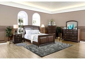 Litchville Collection CM7383QBDMCN 5-Piece Bedroom Set with Queen Bed, Dresser, Mirror, Chest and Nightstand in Brown Cherry Finish
