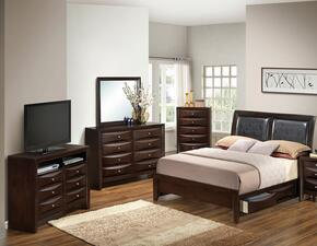 G1525DDKSB2DMCHTV2 5 Piece Set including  King Size Bed, Dresser, Mirror, Chest and Media Chest  in Cappuccino