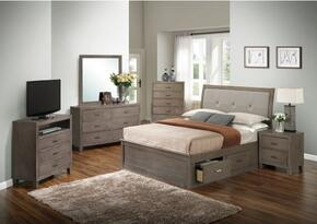 G1205BQSBCHDMNTV 6 Piece Set including Queen Storage Bed, Chest, Dresser, Mirror, Nightstand and Media Chest  in Gray