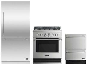 "3 Piece Stainless Steel Kitchen Package With RDV2304N 3O"" Gas Freestanding Range, RS36W80RJC1 36"" Bottom Freezer Refrigerator and DD24DV2T7 24"" Drawers Dishwasher"