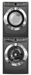 """Titanium Front Load Laundry Pair with EFLS517STT 27"""" Washer, EFME517STT 27"""" Electric Dryer and STACKIT7X Stacking Kit"""