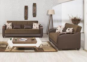 Divamax DISBLSSDC Package Including Sofabed and Convertible Loveseat with Pillows, Storage Under the Seats, Bun Feet, Curved Arms and Woodlike/Polished Metal Accents: Sarp Dark Chocolate