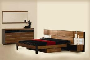 VGWCRONDOCK5PCSET Rondo Collection 5 Piece Bedroom Set With California King Size Platform Bed + 2 Nightstands + Dresser + Mirror: Brown