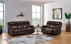 U9303C-BR-RSRL 2-Piece Living Room Set with Reclining Sofa and Reclining Loveseat in Brown