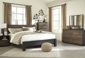 Windlore King Bedroom Set with Panel Bed, Dresser, Mirror, Single Nightstand and Chest in Dark Brown