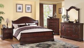 22727EKDMCN Beverly Eastern King Size Panel Bed + Dresser + Mirror + Chest + Nightstand in Dark Cherry Finish