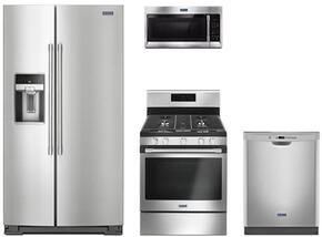 "4-Piece Kitchen Package with MSS26C6MFZ 36"" Side by Side Refrigerator, MGR6600FZ 30"" Gas Freestanding Range, MMV1174FZ 30"" Over The Range Microwave oven and MDB4949SDM 24"" Built in Dishwasher in Stainless Steel"