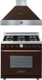 "Deco 2-Piece Brown with Brass Accent Kitchen Package with RD361GCMB 36"" Freestanding Gas Range and HD361ACMB 36"" Wall Mount Range Hood"