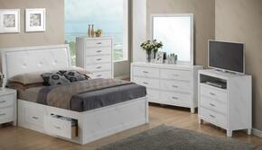 G1275BTSBDMTV 4 Piece Set including Twin Size Bed, Dresser, Mirror and Media Chest  in White