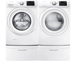 "White Front Load Laundry Pair with WF42H5000AW 27"" Washer, DV42H5000GW 27"" Gas Dryer and 2 WE357A0W Pedestals"
