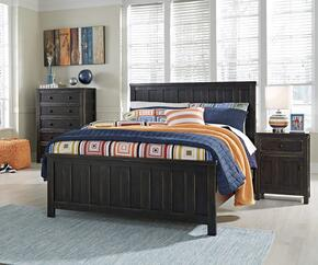 Alvarez Collection Full Bedroom Set with Panel Bed, and Nightstand in Black