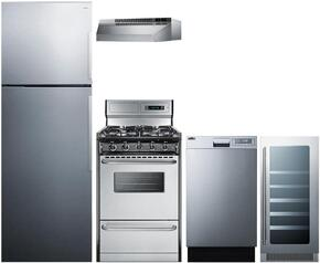 "5-Piece Stainless Steel Package with FF1511SSLHD 28"" Top Freezer Refrigerator, TTM13027BKSW 24"" Freestanding Gas Range, H1724SS 24"" Under Cabinet Hood, DW18SS2 18"" Fully Integrated Dishwasher, and SWC1224 12"" Wine Cooler"