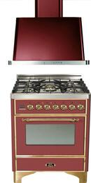 "2-Piece Burgundy Kitchen Package with UM76DVGGRB 30"" Freestanding Gas Range (Brass Trim, 5 Burners, Timer) and UAM76RB 30"" Wall Mount Range Hood"