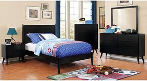 Lennart II Collection CM7386BKTBEDSET 5 PC Bedroom Set with Twin Size Panel Bed + Dresser + Mirror + Chest + Nightstand in Black Finish