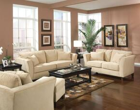 Park Place 500231SET 4 PC Living Room Set with Sofa + Loveseat + Armchair + Ottoman in Cream Color