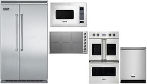 """5-Piece Stainless Steel Kitchen Package with VCSB5483SS 48"""" Side by Side Refrigerator, VDOF730SS 30"""" Double Wall Oven, VIC5304BST 30"""" Induction Cooktop, VMOS201SS 24"""" Microwave with 30"""" Trim Kit, and VDW302SS 24"""" Dishwasher"""