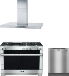 "3-Piece Stainless Steel Kitchen Package with HR1955DFGRLP 48"" Freestanding Dual Fuel Range, DA424V 48"" Mount Ducted Hood, and G6105SCUCLST 24"" Full Console Dishwasher"