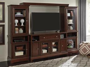 Lavidor W809TVSLPRPB  4-Piece Entertainment Center with TV Stand, Left Pier, Right Pier and a Bridge in Chocolate Brown Color
