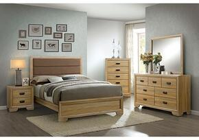 Renee Collection CM7660CKBDMCN 5-Piece Bedroom Set with California King Bed, Dresser, Mirror, Chest, and Nightstand in Dark Natural Finish