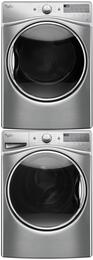 "Diamond Steel Front Load Laundry Pair with WFW92HEFU 27"" Washer, WED92HEFU 27"" Electric Dryer and W10869845 Stacking Kit"