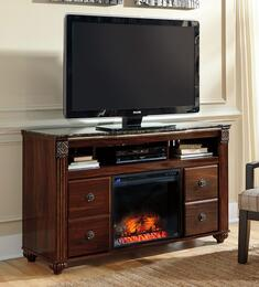 "Gabriela W3476801 59"" Wide LG TV Stand and Wood Burning Flame Effect Fireplace Insert in Deep Dark Red Finish"