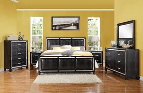 Elberte 22787EK6PC Bedroom Set with Eastern King Size Bed + Dresser + Mirror + Chest + 2 Nightstands in Black Color