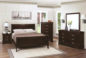Louis Philippe 202411FDMN 4 PC Bedroom Set with Full Size Bed + Dresser + Mirror + Nightstand in Cappuccino Finish