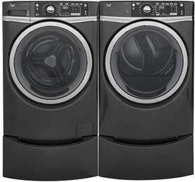 "Diamond Grey Front Load Laundry Pair with GFW480SPKDG 28"" Front Load Washer, GFD48GSPKDG 28"" Gas Dryer and 2 GFP1328PKDG Pedestals"