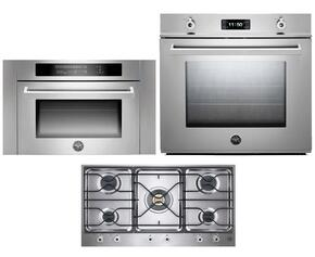 "Professional 3-Piece Stainless Steel Kitchen Package with F30PROXE 30"" Single Electric Wall Oven, PM36500X 36"" Gas Cooktop and SO24PROX Built In Microwave"