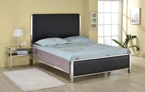 Johanna 25095F2PC Bedroom Set with Full Size Bed + Nightstand in Black Crocodile PU and Nickel Finish