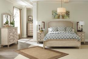 Demarlos Queen Bedroom Set with Upholstered Panel Bed, Dresser, Mirror and 3-Drawer Nightstand in Parchment White