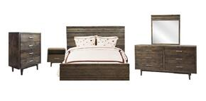 AV71K5PC Avondale 5 PC Bedroom Set with King Size Bed + Dresser + Mirror + Chest + Nightstand in Charcoal Finish