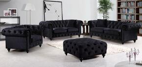 Chesterfield 662BL-S-L-C-O 4 Piece Living Room Set with Sofa + Loveseat + Chair and Ottoman in Black
