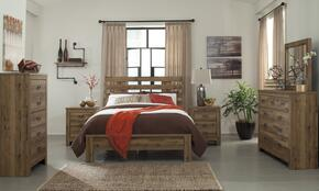Cinrey Queen Bedroom Set with Panel Bed, Dresser, Mirror, Chest and 2 Nightstands in Medium Brown