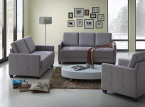 G777SET 3 PC Living Room Set with Sofa + Loveseat + Armchair in Grey Color