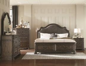 Carlsbad Collection 204040EKDMCN 5 PC Bedroom Set with Eastern King Size Bed + Dresser + Mirror + Chest + Nightstand in Vintage Espresso Finish