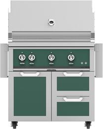 """36"""" Freestanding Natural Gas Grill with GCR36GR Tower Grill Cart with Double Drawer and Door Combo, in Grove Green"""