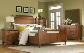 Attic Heirlooms 4397QFBN5DCDM 5-Piece Bedroom Set with Queen Feather Bed, Door Nightstand, 5-Drawer Chest, Dresser and Mirror in Natural Oak Stain Finish