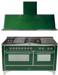 "2-Piece Emerald Green Kitchen Package with UM150FSDMPVSX 60"" Freestanding Dual Fuel Range (Chrome Trim, 5 Burners, French Cooktop) and UAM150VS 60"" Wall Mount Range Hood"