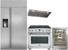 "4-Piece Stainless Steel Kitchen Package with ZISS420DKSS 42"" Side by Side Refrigerator, ZDP364NRPSS 36"" Freestanding Dual Fuel Range, ZVC36LSS 36"" Hood Insert, and ZDBR240HBS 24"" Beverage Center"