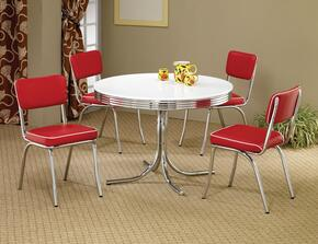 Cleveland 2388TRC 5 PC Dining Room Set with White and Chrome Color Round Dining Table + 4 Red Upholstered Side Chairs in Red and White