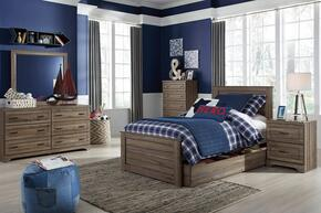 Javarin Twin Bedroom Set with Storage Bed, Dresser, Mirror and Nightstand in Greyish Brown