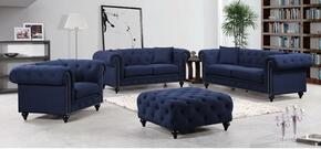 Chesterfield 662NAVY-S-L-C 3 Piece Living Room Set with Sofa + Loveseat and Chair in Navy