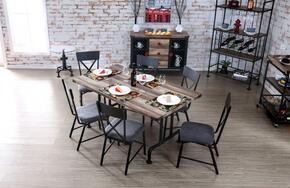 Brixton I Collection CM3365T6SCSV 8-Piece Dining Room Set with Rectangular Table, 6 Side Chairs and Server in Natural Tone Finish