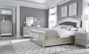 Coralayne Queen Bedroom Set with Upholstered Panel Bed, Dresser, Mirror, Single Nightstand and Chest in Silver