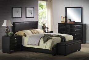 Ireland 14337EK6PC Bedroom Set with Eastern King Size Bed + Dresser + Mirror + 2 Nightstands + Storage Bench in Black Color
