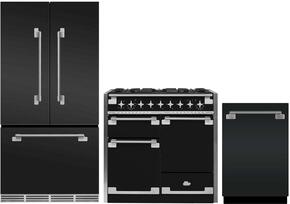 "3-Piece Matte Black Kitchen Package with MELFDR23MBL 36"" French Door Refrigerator, AEL48DFMBL 48"" Freestanding Dual Fuel Range, and AELTTDWMBL 24"" Fully Integrated Dishwasher"