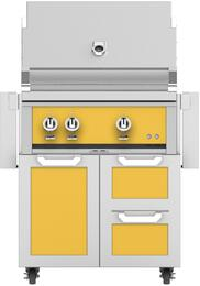 "30"" Freestanding Natural Gas Grill with GCR30YW Tower Grill Cart with Double Drawer and Door Combo, in Sol Yellow"