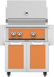 """30"""" Freestanding Natural Gas Grill with GCD30OR Tower Grill Cart with Two Doors, in Citra Orange"""
